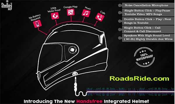steelbird SBA 17wings HF full face helmet with Plain Visor and Detachable Handsfree Device