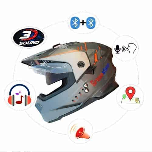 Green Stone Bluetooth Helmet (G6 Moto) with Voice Assistance