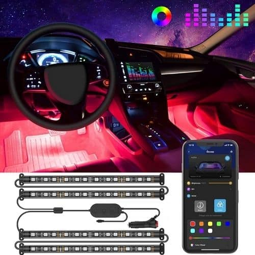 Color changing LED lights for car interior with 48 LEDs App Control