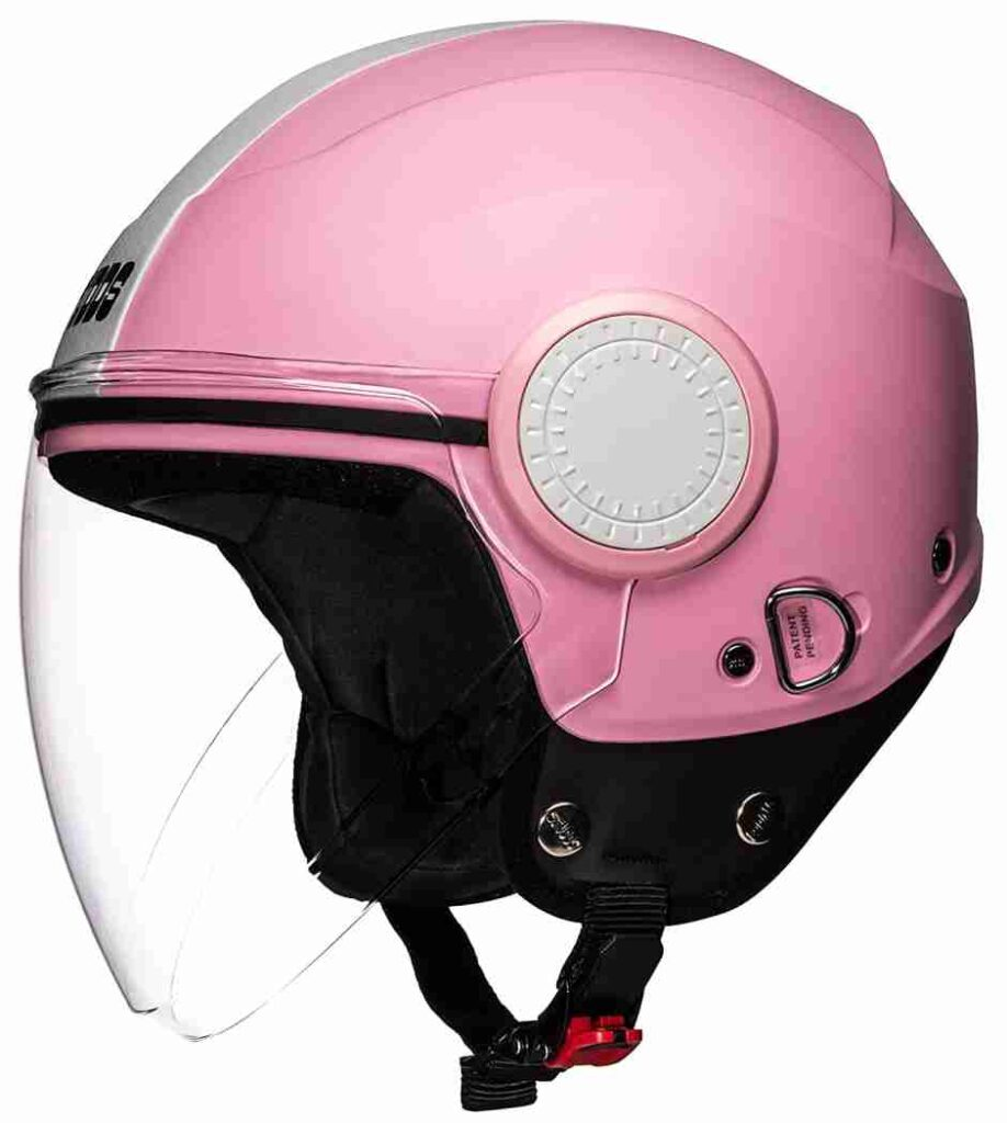 Studds Urban Pink With White Strip Open Face Ladies helmet for scooty